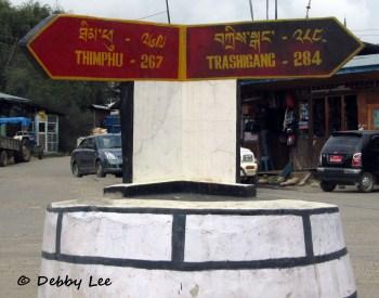 Thimphu Trashigang Jakar Sign Bhutan