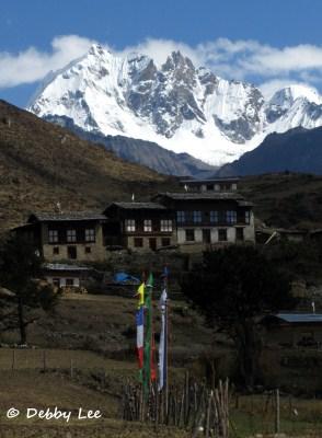 Laya Bhutan Tsenda Gang with Prayer Flags
