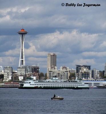 Alki Beach view of Space Needle Seattle