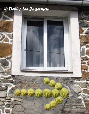 Camino de Santiago Yellow Arrow of Scallop Shells Window