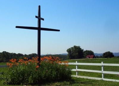 Ile d'Orleans Roadside Cross Orange Flowers