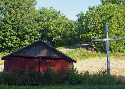 Ile d'Orleans Roadside Cross Red Barn