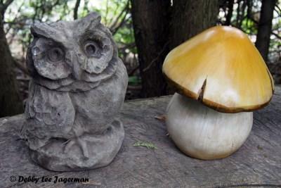 L'Art au Jardin Ile d'Orleans Owl Mushroom