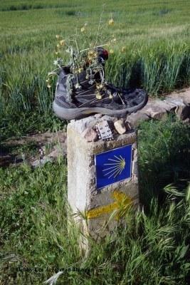Camino de Santiago Hiking Boots Stone Marker