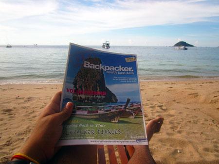 SEA Backpacker Magazine on the beach