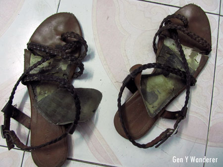 Travel-worn sandals