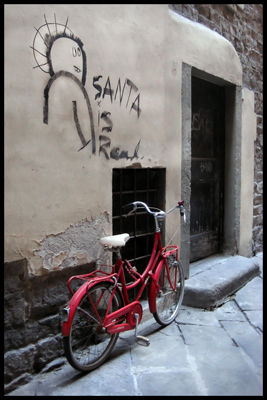 Gifts for Photographers, Santa graffiti, Santa in Italy, Bike in Italy, Florence Street Scene, Florence graffiti