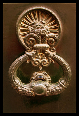 European Door Knocker,  Ornate Door Knocker, Golden Door Knocker