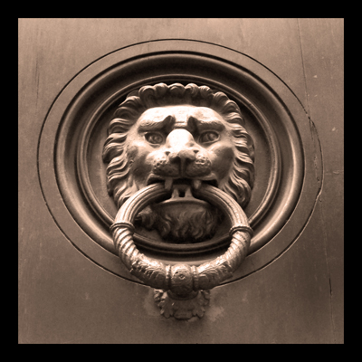 Lion door knocker, Italian architectural details,
