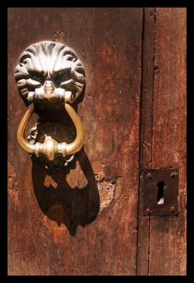 Lion Door Knocker,  Antique Door Knocker, Evil Door Knocker,  Italian Architectural Details, Wooden Door with Knocker
