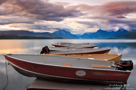Boats Resting on Dock at Sunset