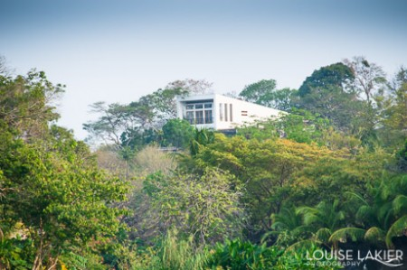 A modern white home overlooks the isletas on the Asese Peninsula near Granada, Nicaragua