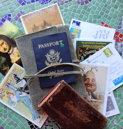 Post cards collected to be kept in a journal for travel keepsakes
