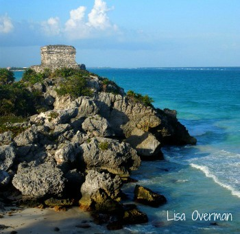 A beach view of Mexico's Tulum ruins