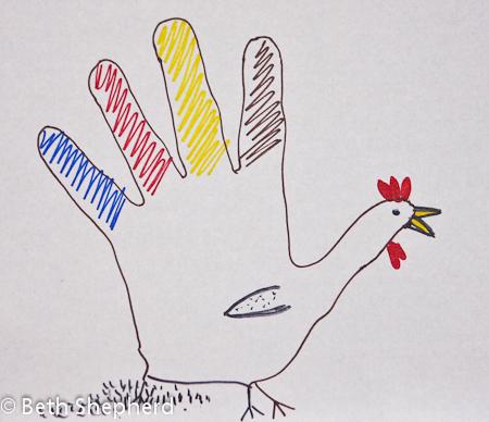 Hand-drawn turkey, Thanksgiving