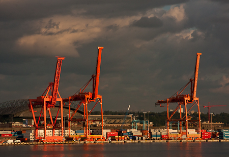 Orange shipping cranes in Seattle