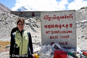 Beth at Everest Base Camp, Tibet, China