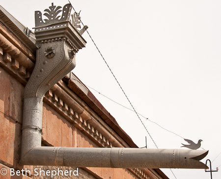 Gyumri downspout  with bird, Armenia