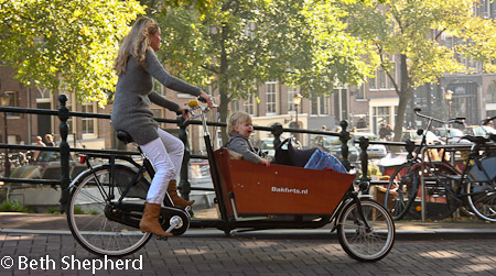 Amsterdam cyclist and baby