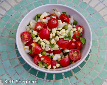 Corn, tomato, and fresh pea salsa recipe