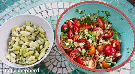 Cannellini beans with roasted corn tomato salad