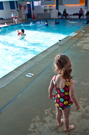 Little swimmer checking out the Safe 'n Sound pool