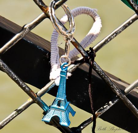 Eiffel Tower love lock Pont des Arts