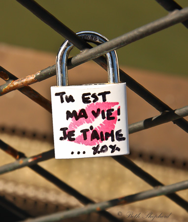 Love lock in Paris at the Pont des Arts bridge