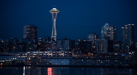 Three iconic Seattle sites by twilight