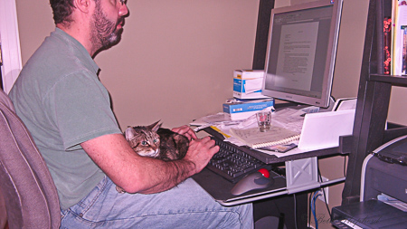 Maggie with Joel at computer