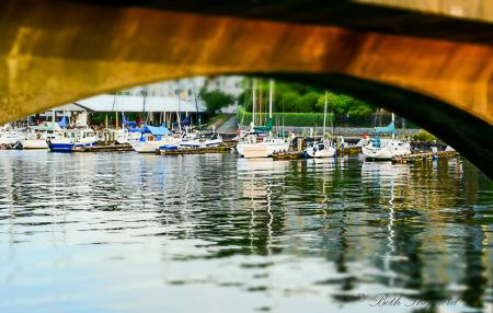 Ballard Locks Bridge and boat view