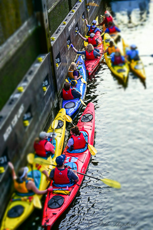 Kayakers in the locks