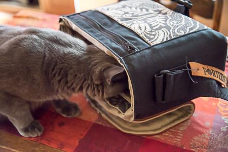 Wally checking inside of Porteen Gear bag