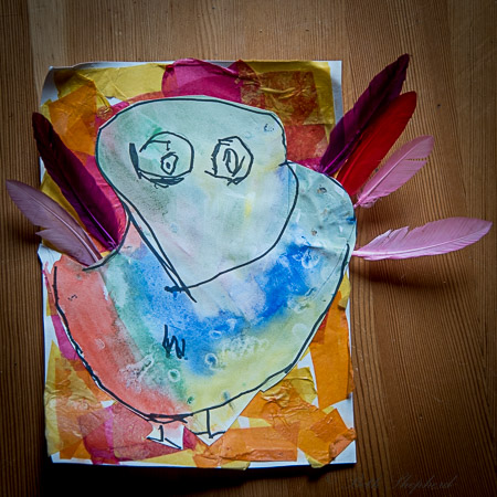 paper art painting and feathers of turkey