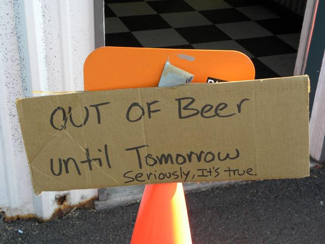 Boneyard Out of Beer Sign