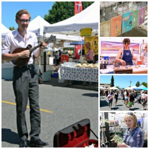 Calvin Miller busking and vendors
