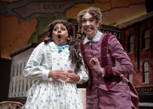 Natalie Anne Moe as Mrs. Molloy and Asha Stichter  as Minnie Fay in The Matchmaker at Taproot Theatre.