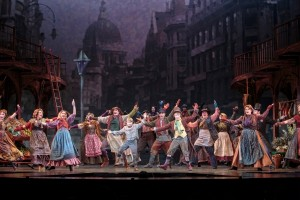 The cast on stage in Oliver!