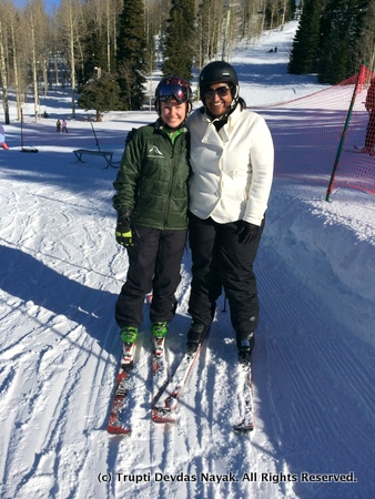 Beth and me in our skis on the beginner slopes
