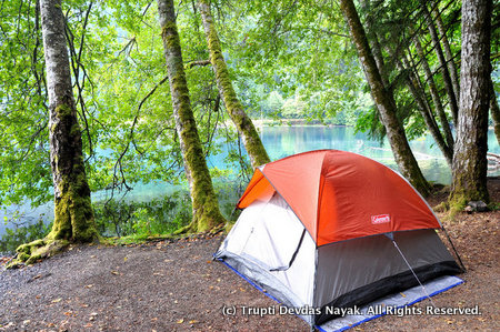Camping at Lake Crescent in Olympic National Park
