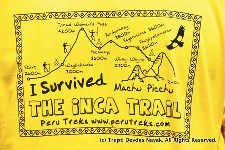 I survived the Inca Trail tshirt
