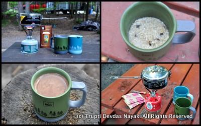 Camping breakfast coffee oatmeal