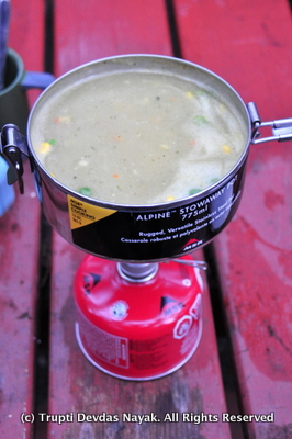 Warm soups while camping