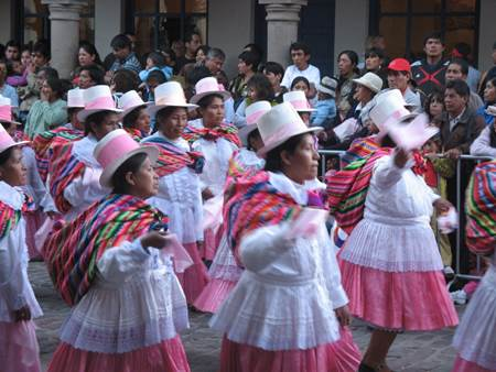 Dancers Inti Raymi Festival in White