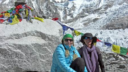 Susie and Krista at Everest Base Camp