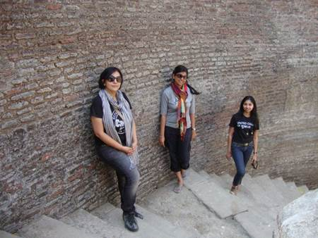 Besties exploring step well at Champaner