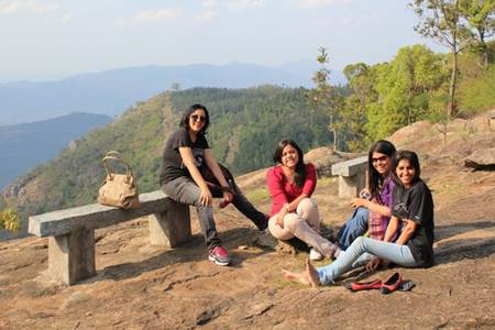Girlfriends having a breather at Yercaud