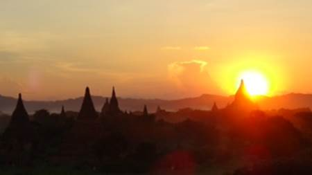 Sunset over Bagan temples