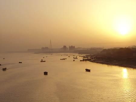 Boats over Tapi River Surat India