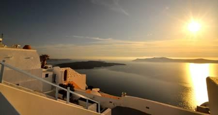 Sun on the Caldera Santorini Greece